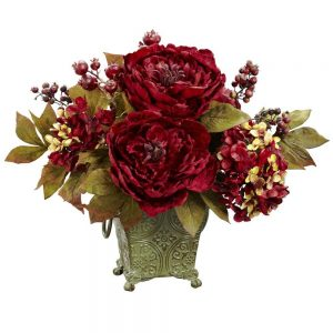 14 in. H Red Peony and Hydrangea Silk Flower Arrangement
