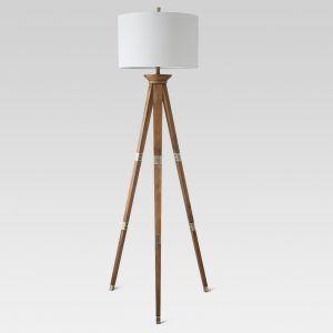 Oak Wood Tripod Floor Lamp Brass – Threshold™