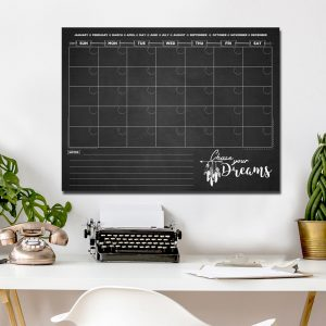 Black Chase Your Dreams Dry Erase Monthly Calendar