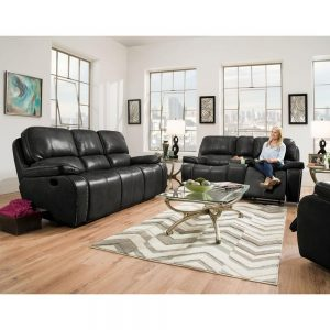 Alpine 3-Piece Black Sofa, Loveseat, Recliner Living Room Set