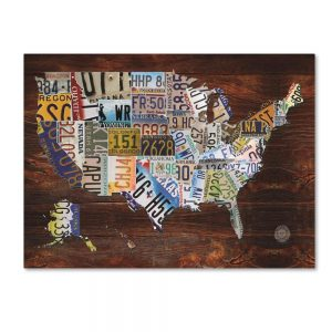 USA License Plate Map Print on Canvas