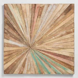 Antiqued Sunburst Wood Panel Wall Decor